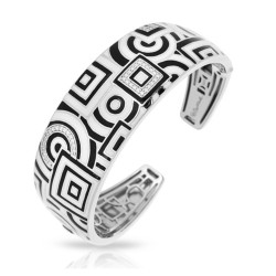 Geometrica Collection In Sterling Silver Blk_White /En/White /Cz Bangle