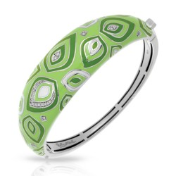 Zen Collection In Sterling Silver / Applegrn/En/White /Cz Bangle