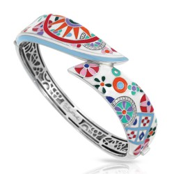 Pashmina Collection In Sterling Silver Ena.Mult/Cz.White Bangle