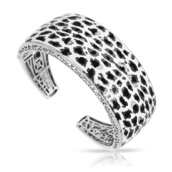 Leopard Collection In Sterling Silver White /Blk_White /Cz Bangle