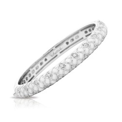 Harlequin Collection In Sterling Silver En_White /White _Cz Bangle