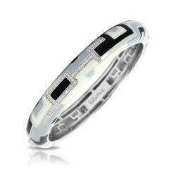 Art Deco Collection In Sterling Silver En_Blkwhite Grey/Cz Bangle