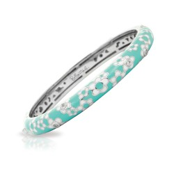 Daisies Collection In Sterling Silver En_Blue/Cz_White Bangle