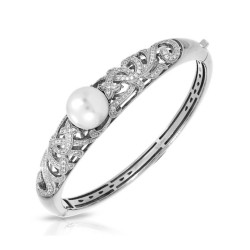 Fiona Collection In Sterling Silver Wht/Pearl/Wht/Cz Bangle