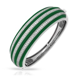 Intermezzo Collection In Sterling Silver Emerald/Ru/White /Cz Bangle