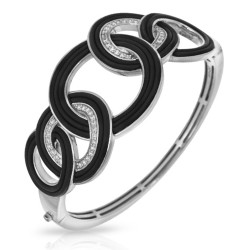 Unity Collection In Sterling Silver Blk/Ru/White /Cz Bangle