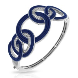 Unity Collection In Sterling Silver Blue/Ru/White /Cz Bangle