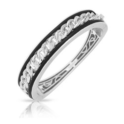 Liaison Collection In Sterling Silver Rub.Blk/Cz.White Bangle