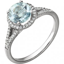 14K White Aquamarine & 1/5 CTW Diamond Ring