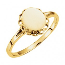 14K Yellow Oval Signet Ring