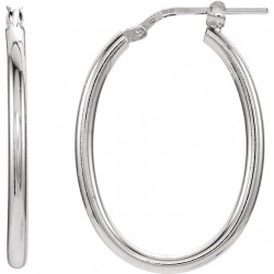 Sterling Silver 22x28mm Oval Tube Hoop Earrings