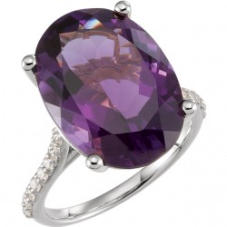 14K White Amethyst & 1/4 CTW Diamond Ring