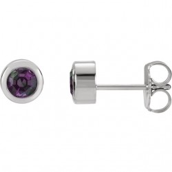 Sterling Silver Imitation Alexandrite Earrings