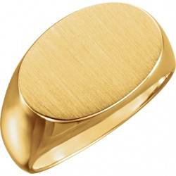 14K Yellow 12x18mm Oval Signet Ring