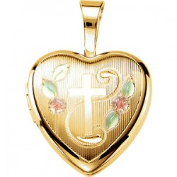 Gold Plated Sterling Silver Cross Heart Locket with Epoxy