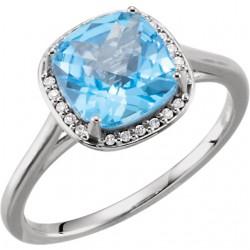14K White Swiss Blue Topaz & .055 CTW Diamond Halo-Style Ring