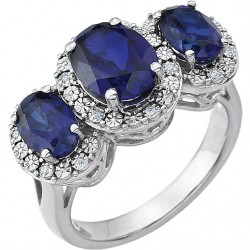 14K White Created Blue Sapphire & .04 CTW Diamond Ring