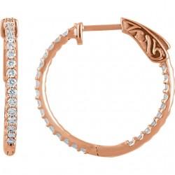 14K Rose 3/4 CTW Diamond Inside/Outside Hoop Earrings