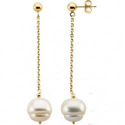 Sterling Silver 9-11mm Freshwater Cultured Pearl Dangle Earrings