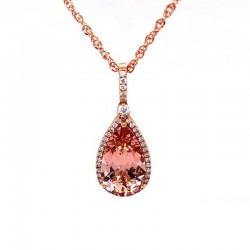 Rose gold pear shaped Morganite pendant with diamond halo