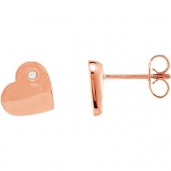 Diamond Accented Heart Earrings
