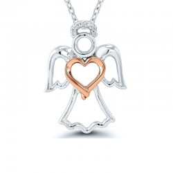 Sterling Silver And Rose Gold Angel Pendant