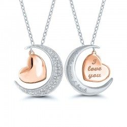 Sterling Silver And Rose Gold I Love You Heart In Moon Pendant