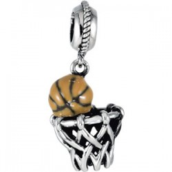 Sterling Silver 18x11mm Basketball Dangle