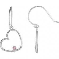 Sterling Silver .03CTW Diamond Heart Earrings
