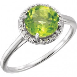 14K White Peridot and .05CTW Diamond Ring