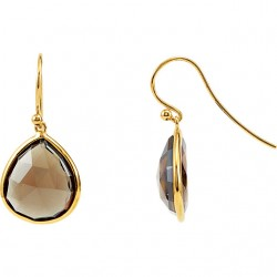 Sterling Silver Smoky Quartz Earrings with 14K Yellow Gold Plating