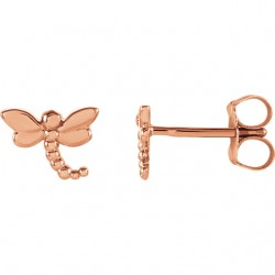 14K Rose Dragonfly Earrings