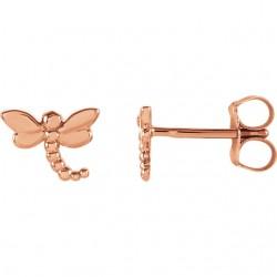 14K Rose Dragonfly Earrings