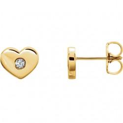 14K Yellow .06 CTW Diamond Heart Earrings