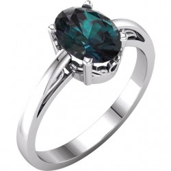 14K White ChathamB. Created Alexandrite Ring
