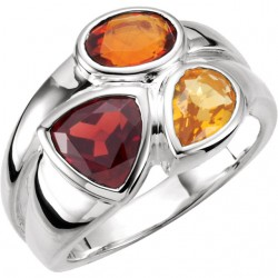 Sterling Silver Mozambique Garnet, Madeira Citrine & Citrine Ring Size 8