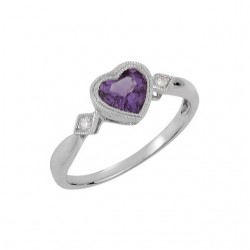 14K White Amethyst & .02 CTW Diamond Ring