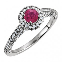 14K White Ruby & 5/8 CTW Diamond Engagement Ring