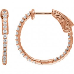 14K Rose 1/2 CTW Diamond Inside/Outside Hoop Earrings