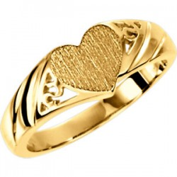 14K Yellow Heart Signet Ring