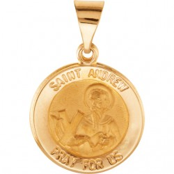 14K Yellow 18.5mm Round Hollow St. Andrew Medal
