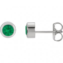 Sterling Silver Imitation Emerald Earrings