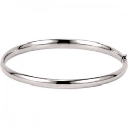 14K White 4.75mm Hinged Bangle Bracelet