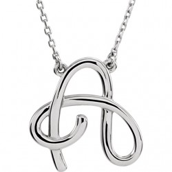 "Sterling Silver ""O"" Script Initial 16"" Necklace"