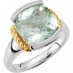 Sterling Silver & 14K Yellow Green Quartz Ring