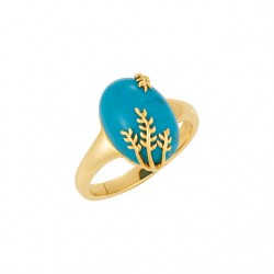 Chinese Turquoise Leaf Design Ring