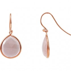 Sterling Silver Rose Quartz Earrings with 14K Rose Gold Plating