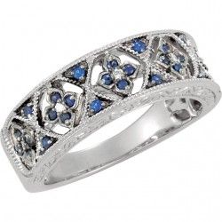 Blue Sapphire & Diamond Accented Granulated Design Ring