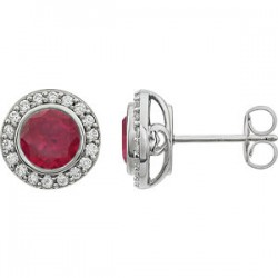 Sterling Silver Red Cubic Zirconia Earrings