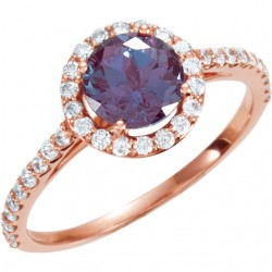 14K Rose ChathamB. Created Alexandrite & 3/8 CTW Diamond Ring